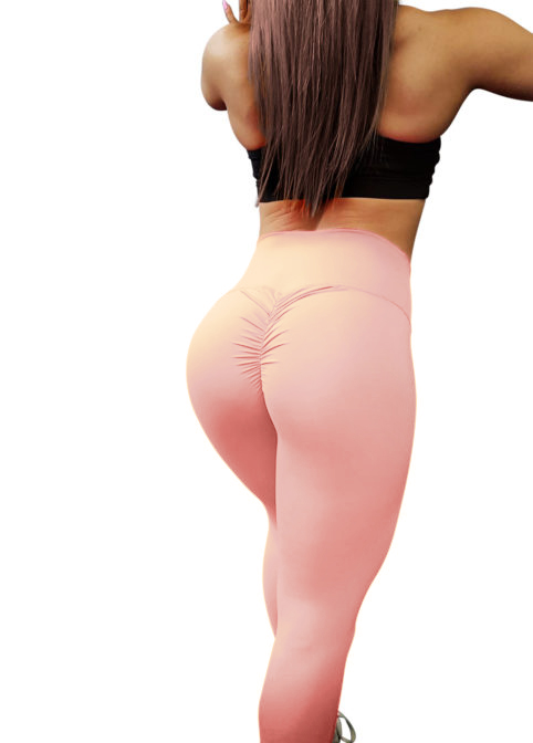 peachy pink scrunch leggings
